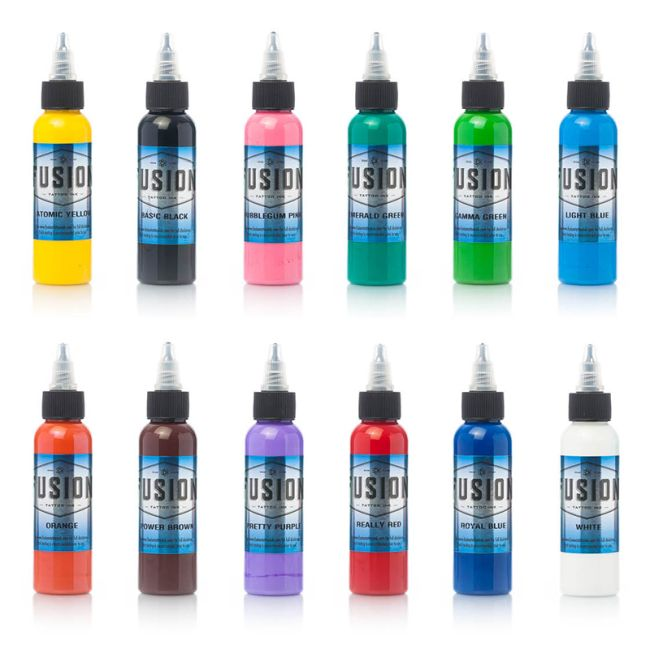 Tattoo Ink Colors >> Fusion Tattoo Ink 12 Color Primary Set From Diversified Rockstar